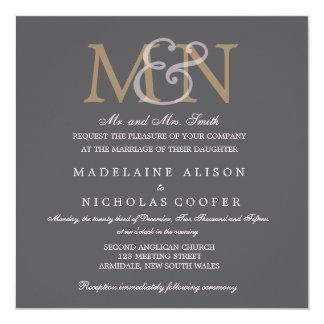 Custom charcoal modern wedding invite