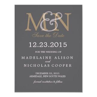 Custom charcoal modern wedding save the date 11 cm x 14 cm invitation card