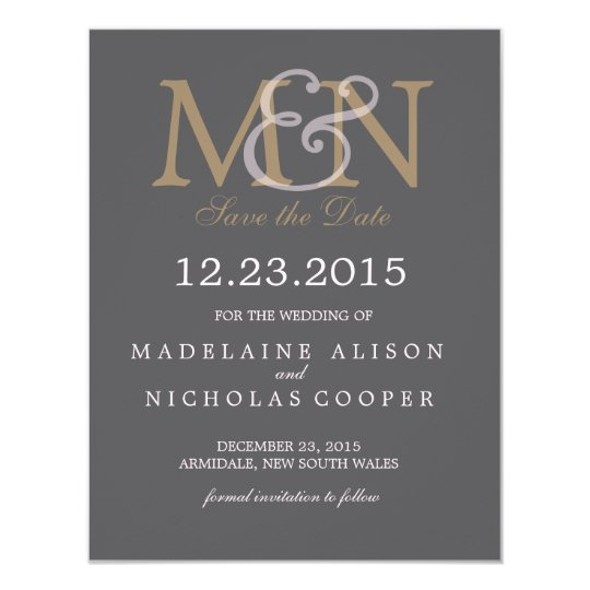 Custom charcoal modern wedding save the date card