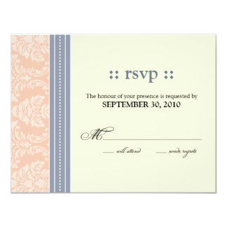:custom: Charming Damask Wedding RSVP: blush Card
