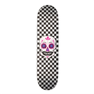 Custom Checker Board Pink Candy Skull Deck Skateboard