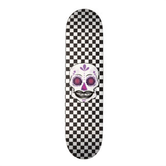 Custom Checker Board Purple Candy Skull Deck 19.7 Cm Skateboard Deck