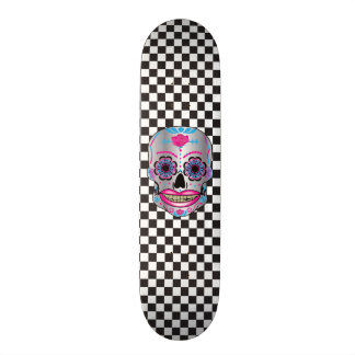 Custom Checker Board Rose Candy Skull Deck 20 Cm Skateboard Deck
