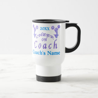 Custom Cheer Coach Gifts Ideas with Coach's NAME Stainless Steel Travel Mug