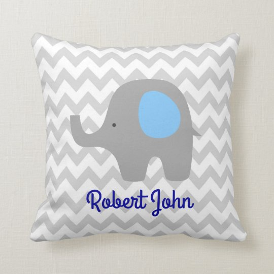 Custom Chevron Elephant Nursery Room Pillow