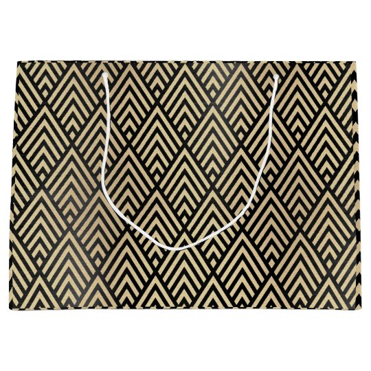 Custom Chevron Geometry Art Deco Gold Black Large