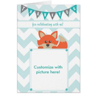 Custom chevron & woodland themed Thank You Card