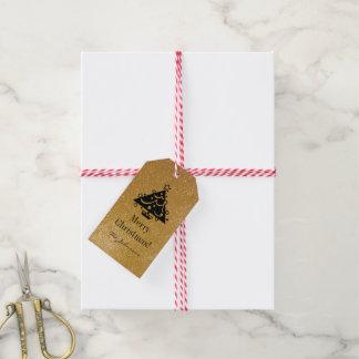 Custom chic gold glitter Christmas tree gift tags