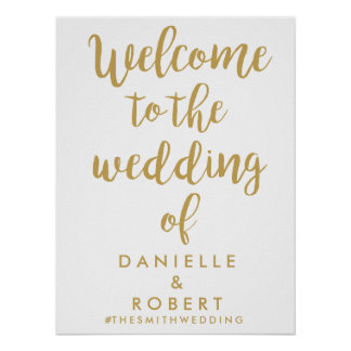 Custom Chic Gold Wedding Welcome Sign Poster