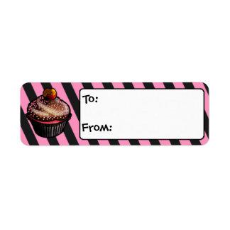 Custom Chocolate Cherry Cupcake Gift Tags Return Address Label
