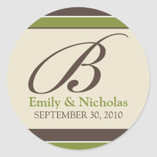 :custom: Chocolate/Olive Wedding Invitation Seal_2 Round Sticker