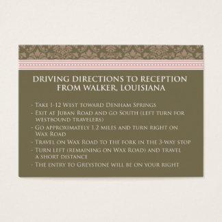 ":custom: Chocolate/Pink Damask 3.5x2.5"" Reception Business Card"