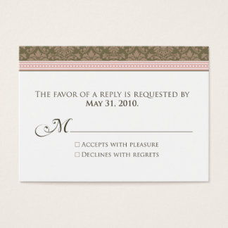 ":custom: Chocolate/Pink Damask 3.5x2.5"" RSVP Business Card"
