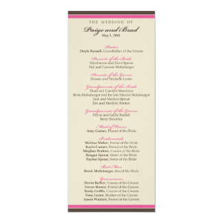 ::custom:: Chocolate/Pink Wedding Program_4 Card
