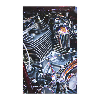Custom chopper engine stretched canvas prints