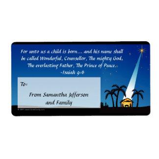 Custom Christian Bible Verse Christmas Gift Tag Shipping Label