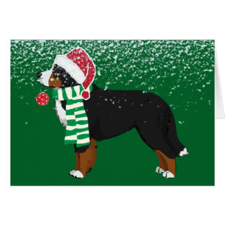 Custom Christmas Bernese Mountain Holiday Dog Card