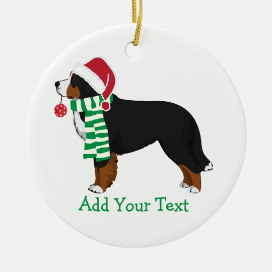 Custom Christmas Bernese Mountain Holiday Dog Christmas Ornament
