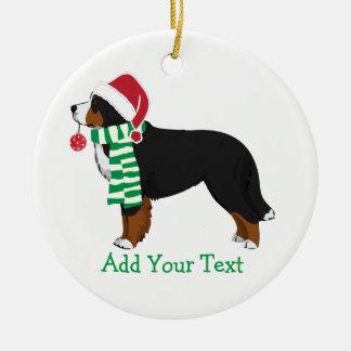 Custom Christmas Bernese Mountain Holiday Dog Round Ceramic Decoration