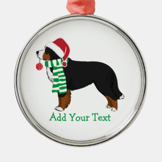Custom Christmas Bernese Mountain Holiday Dog Silver-Colored Round Decoration