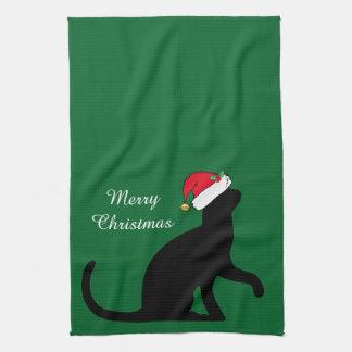 Custom Christmas Cat Santa Green Tea Towel