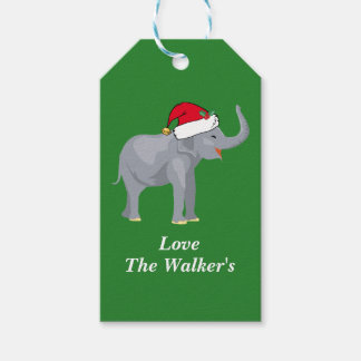 Custom Christmas Elephant Green Gift Tags