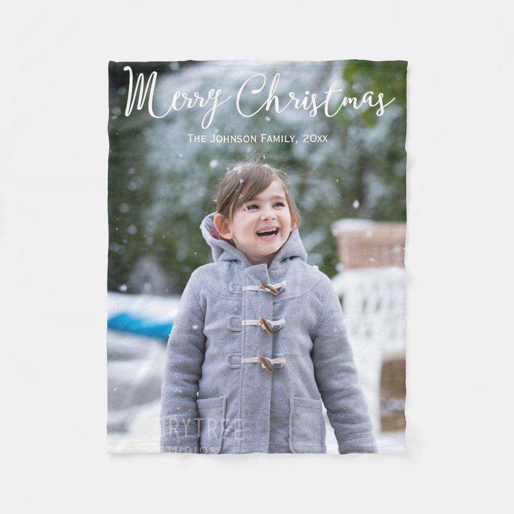 Custom Christmas Fleece Blankets With Photo