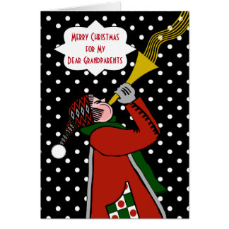 Custom Christmas for Grandparents, Trumpet in Snow Greeting Card
