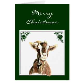 Custom Christmas Get your Goat, Humor Greeting Card