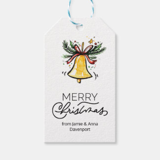 Custom Christmas Gift Tags Watercolor Bell