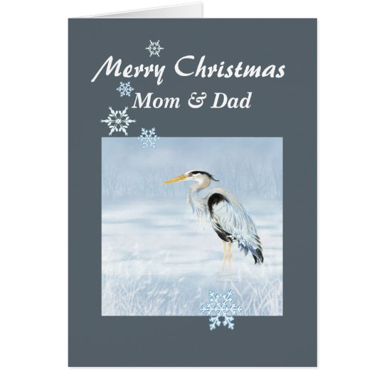 Custom Christmas Great Blue Heron Bird Scripture Card
