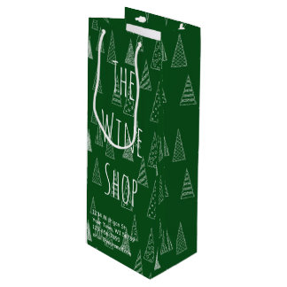 Custom Christmas Green and White Wine Gift Bag