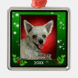 Custom Christmas Green Sparkle Border Pet Photo Christmas Ornament