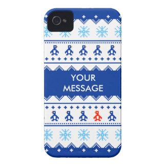 Custom Christmas Jumper Penguin & Snowflake Case