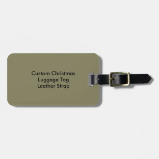 Custom Christmas Luggage Tag with leather strap