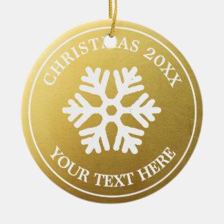 Custom Christmas Ornament | Gold Rustic Snowflake