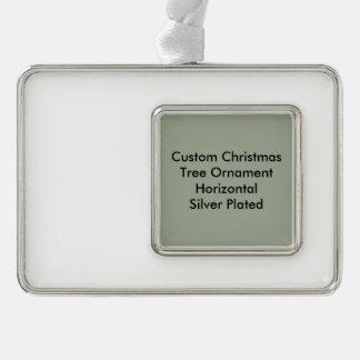 Custom Christmas Ornament Horizontal Silver Plated