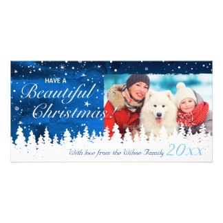 Custom Christmas Photo Cards   Red White and Blue