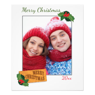 Custom Christmas Photo Print with Holly Leaf