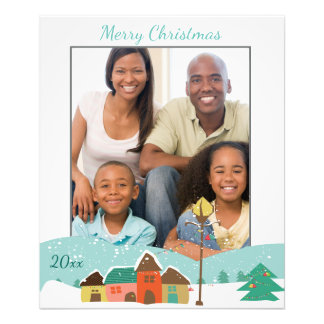 Custom Christmas Photo Print with Village Scene