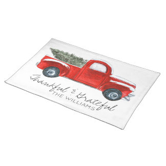 Custom Christmas Place Mats - Vintage Red Truck