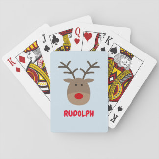 Custom Christmas playing cards with cute reindeer