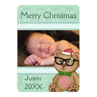 Custom Christmas Santa Bear Photo Greeting Card 13 Cm X 18 Cm Invitation Card