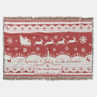 Custom Christmas Santa Sleigh Throw Blanket