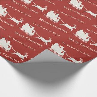 Custom Christmas Santas Sleigh Deer Wrapping Paper