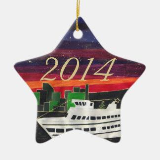 Custom Christmas Ship Ceramic Star Decoration
