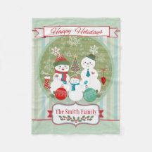 Custom Christmas Snowmen Family Fleece Blanket