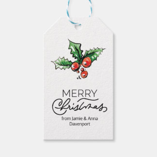 Custom Christmas Tag with Watercolor Elements