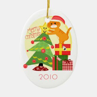 Custom Christmas Tree Ginger Cat Ornament