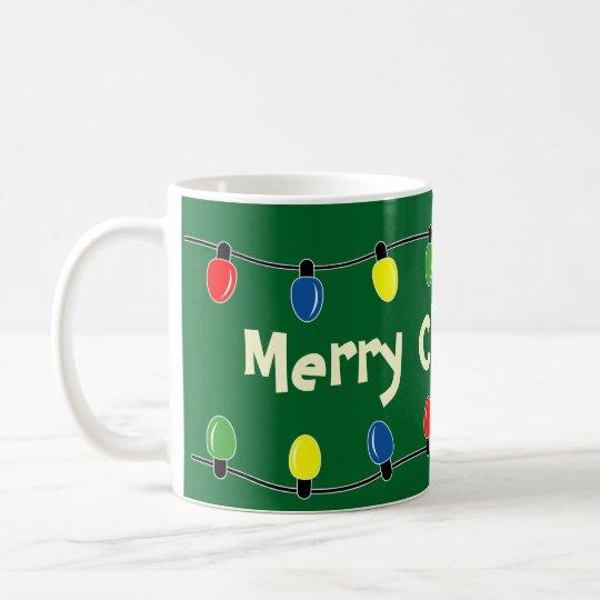 Custom Christmas tree lights decoration coffee mug